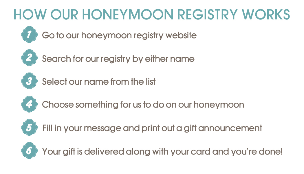 Gift registry eat drink and be married how the honeymoon registry works negle Image collections